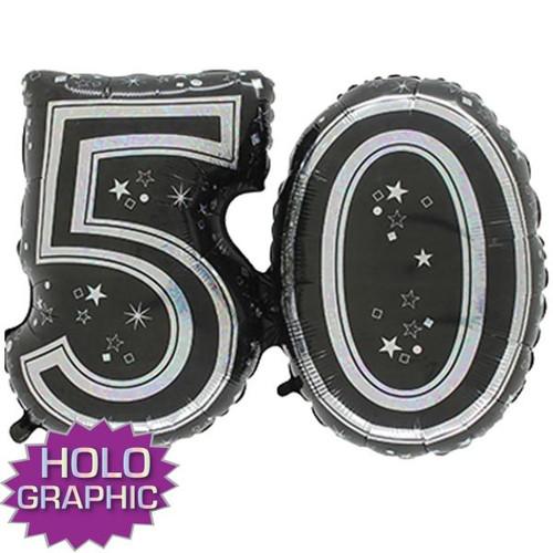 50th Black Foil Balloon
