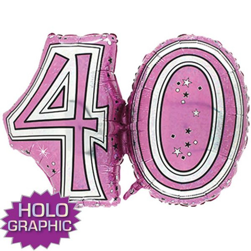 40th Pink Foil Balloon