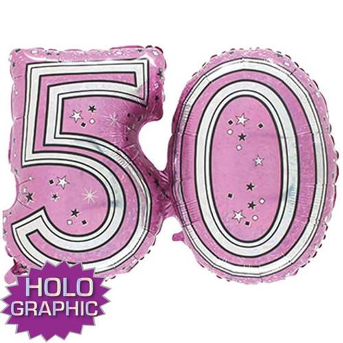50th Pink Foil Balloon