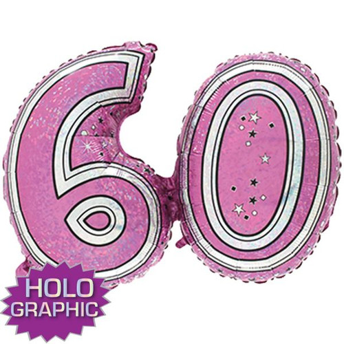 60th Pink Foil Balloon