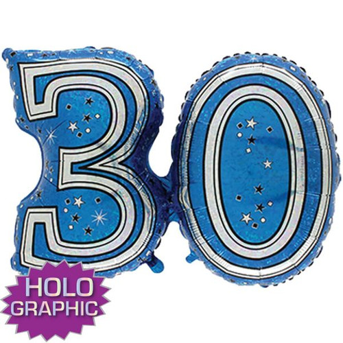 30th Blue Foil Balloon