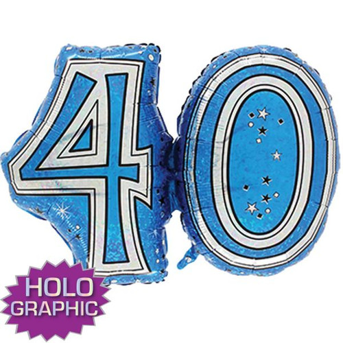 40th Blue Foil Balloon