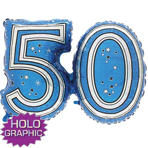 50th Blue Foil Balloon