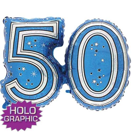 50th Blue Foil Balloon