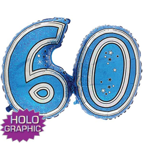 60th Blue Foil Balloon