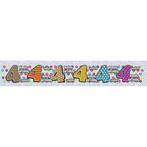4th Birthday 9ft Wall Banner