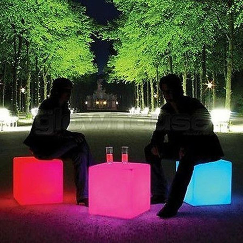 LED Colour Changing Cube Stool Seat Chair 1