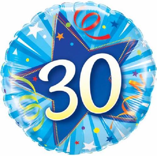 30th Birthday Shining Star Bright Blue 18 Inch Foil Balloon