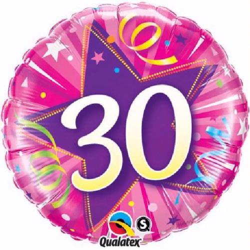 30th Birthday Shining Star Hot Pink 18 Inch Foil Balloon