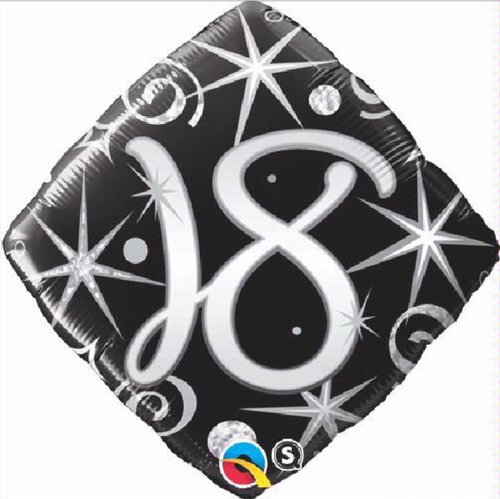 18th Birthday Elegant Sparkles & Swirls 18 Inch Foil Balloon
