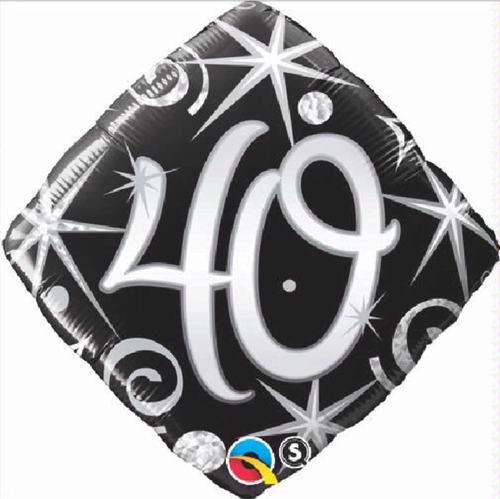 40th Birthday Elegant Sparkles & Swirls 18 Inch Foil Balloon