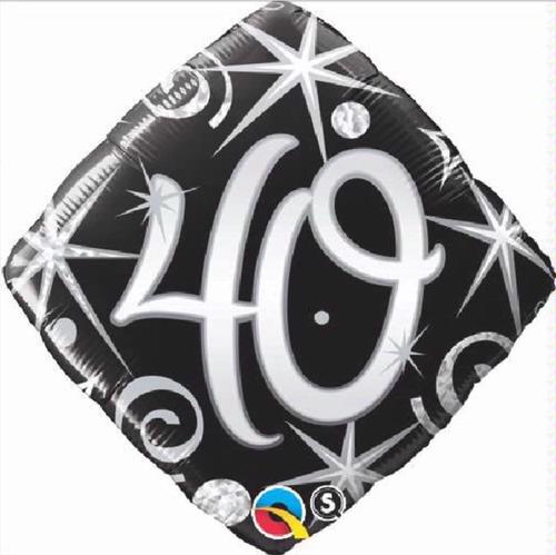 40th Birthday Elegant Sparkles & Swirls 18 Inch Foil Balloon