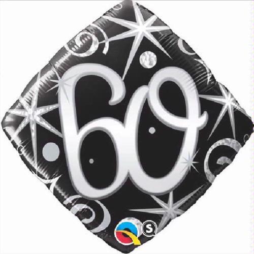 60th Birthday Elegant Sparkles & Swirls 18 Inch Foil Balloon