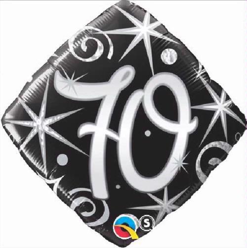 70th Birthday Elegant Sparkles & Swirls 18 Inch Foil Balloon