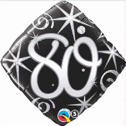 80th Birthday Elegant Sparkles & Swirls 18 Inch Foil Balloon