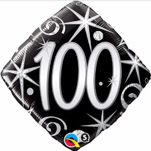 100th Birthday Elegant Sparkles & Swirls 18 Inch Foil Balloon