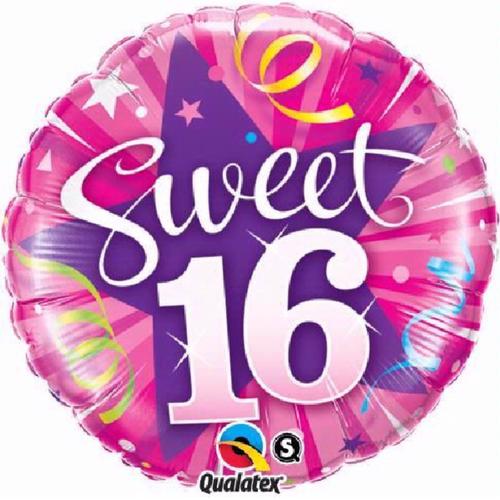 16th Birthday Shining Star Hot Pink 18 Inch Foil Balloon