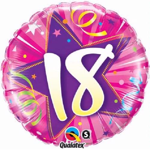 18th Birthday Shining Star Hot Pink 18 Inch Foil Balloon