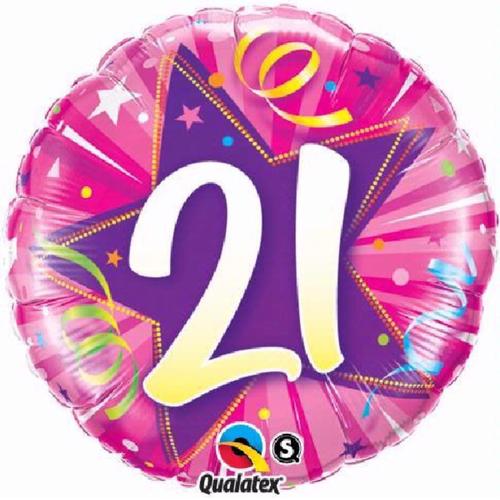 21st Birthday Shining Star Hot Pink 18 Inch Foil Balloon