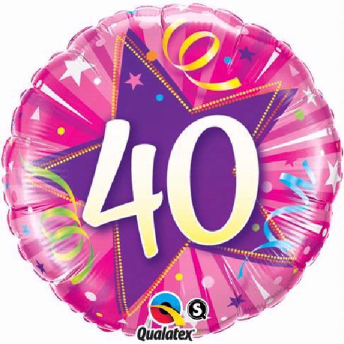 40th Birthday Shining Star Hot Pink 18 Inch Foil Balloon