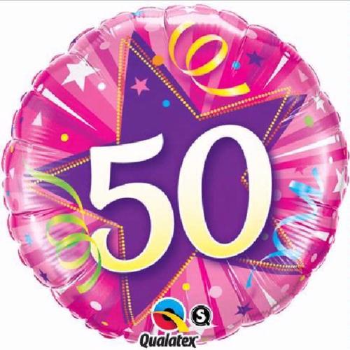 50th Birthday Shining Star Hot Pink 18 Inch Foil Balloon