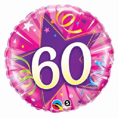 60th Birthday Shining Star Hot Pink 18 Inch Foil Balloon