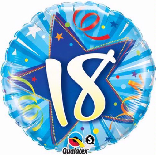 18th Birthday Shining Star Bright Blue 18 Inch Foil Balloon