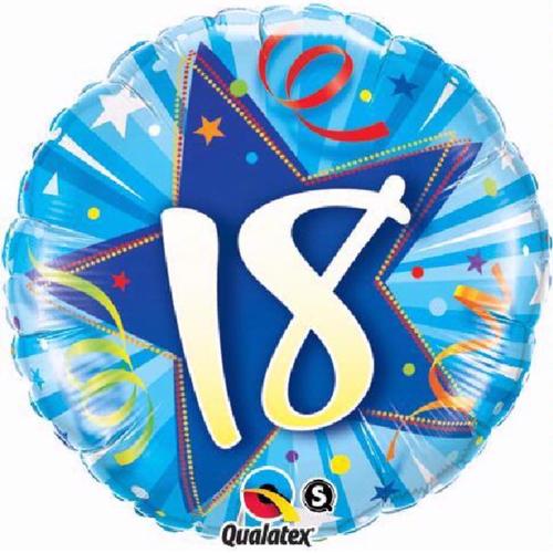18th Birthday Shining Star Bright Blue 18 Inch Foil Balloon