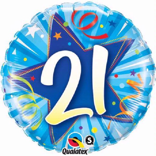 21st Birthday Shining Star Bright Blue 18 Inch Foil Balloon