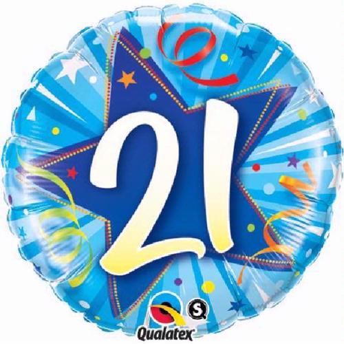 21st Birthday Shining Star Bright Blue 18 Inch Foil Balloon