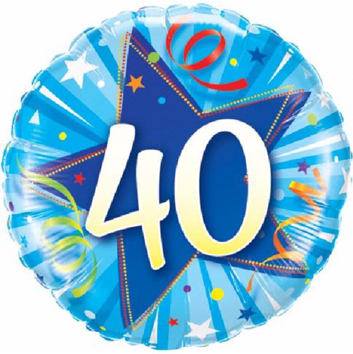 40th Birthday Shining Star Bright Blue 18 Inch Foil Balloon