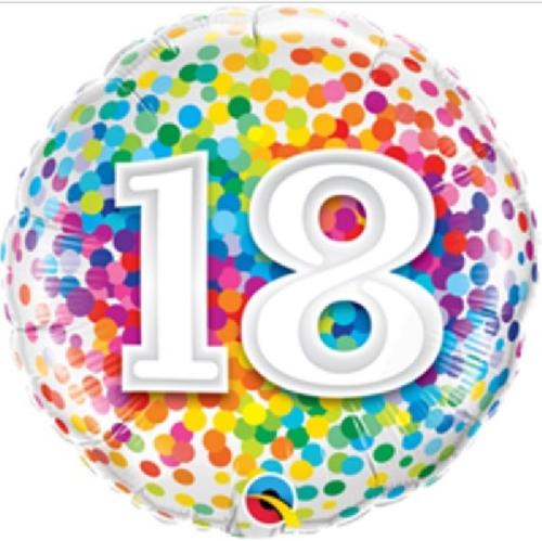 18th Birthday Rainbow Confetti 18 Inch Foil Balloon