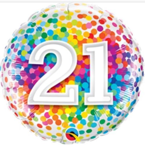 21st Birthday Rainbow Confetti 18 Inch Foil Balloon