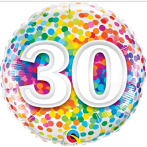 30th Birthday Rainbow Confetti 18 Inch Foil Balloon