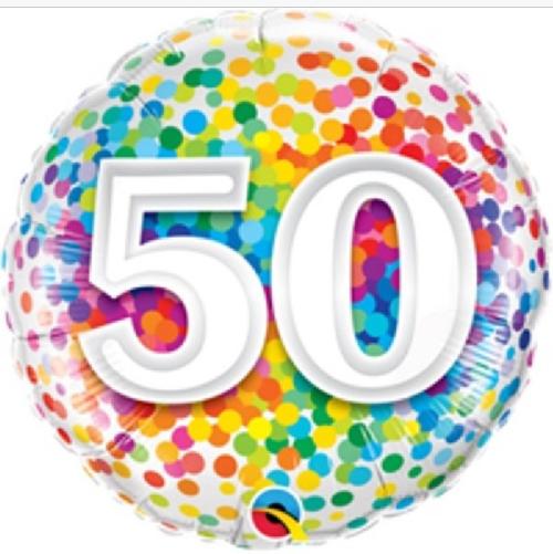 50th Birthday Rainbow Confetti 18 Inch Foil Balloon