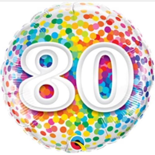 80th Birthday Rainbow Confetti 18 Inch Foil Balloon