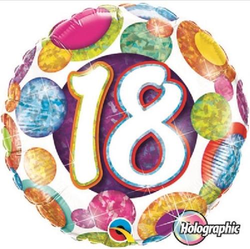 18th Birthday Holographic Big Dots & Gltiz 18 Inch Foil Balloon