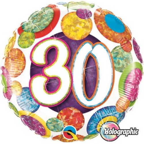 30th Birthday Holographic Big Dots & Gltiz 18 Inch Foil Balloon