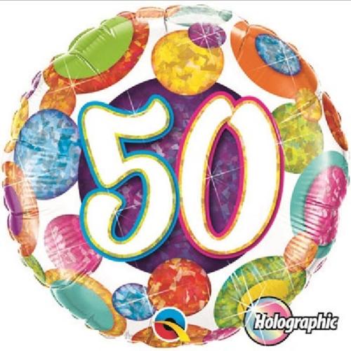 50th Birthday Holographic Big Dots & Gltiz 18 Inch Foil Balloon