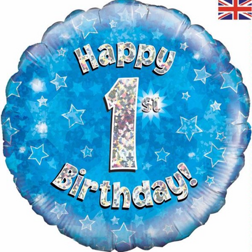 1st Birthday Holographic Blue 18 Inch Foil Balloon