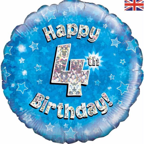4th Birthday Holographic Blue 18 Inch Foil Balloon