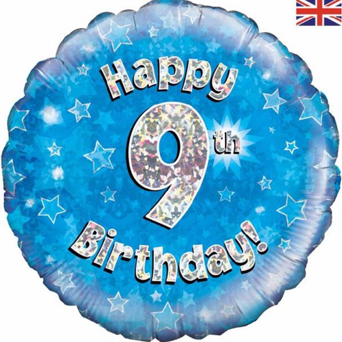 9th Birthday Holographic Blue 18 Inch Foil Balloon