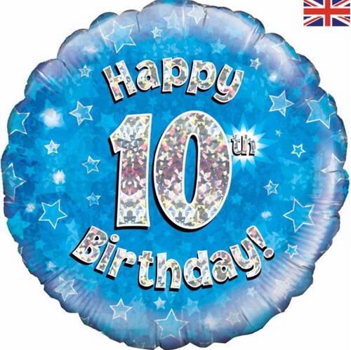 10th Birthday Holographic Blue 18 Inch Foil Balloon
