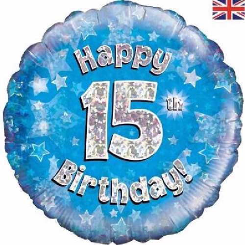15th Birthday Holographic Blue 18 Inch Foil Balloon