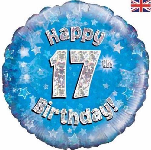 17th Birthday Holographic Blue 18 Inch Foil Balloon