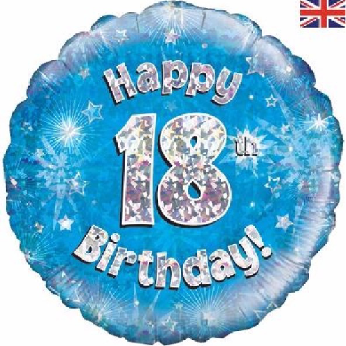 18th Birthday Holographic Blue 18 Inch Foil Balloon