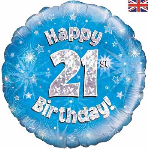 21st Birthday Holographic Blue 18 Inch Foil Balloon