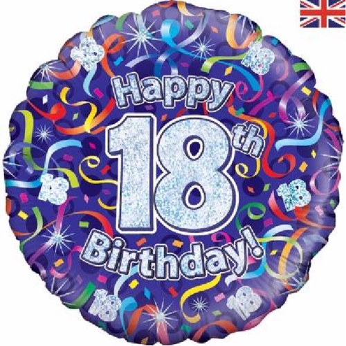 18th Birthday Holographic Streamers 18 Inch Foil Balloon