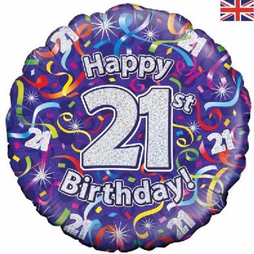 21st Birthday Holographic Streamers 18 Inch Foil Balloon