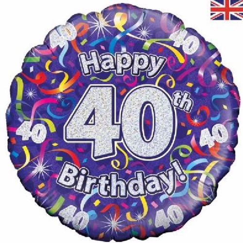 40th Birthday Holographic Streamers 18 Inch Foil Balloon